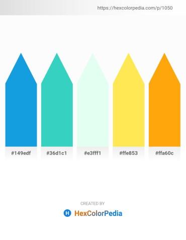 Palette image download - Dodger Blue – Medium Turquoise – Mint Cream – Midnight Blue – Orange