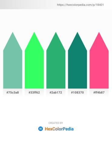 Palette image download - Medium Aquamarine – Spring Green – Medium Sea Green – Teal – Hot Pink