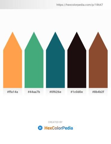 Palette image download - Coral – Medium Sea Green – Teal – Black – Sienna