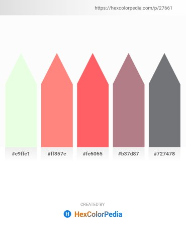 Palette image download - Honeydew – Light Salmon – Tomato – Rosy Brown – Slate Gray