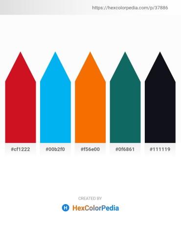Palette image download - Crimson – Deep Sky Blue – Dark Orange – Teal – Pink