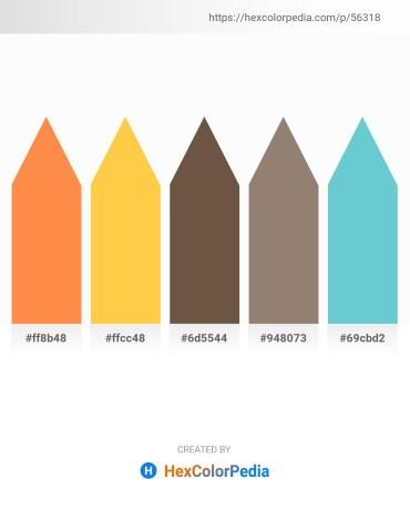 Palette image download - Coral – Sandy Brown – Magenta – Gray – Medium Turquoise