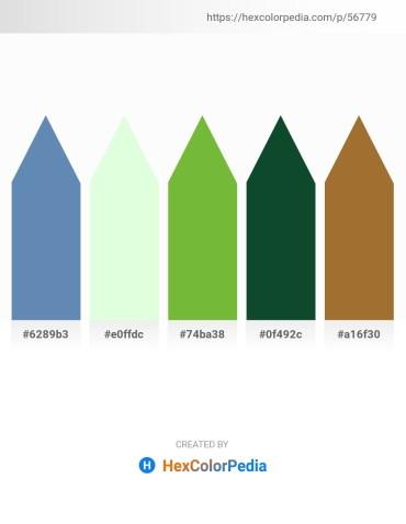 Palette image download - Steel Blue – Honeydew – Yellow Green – Dark Slate Gray – Sienna