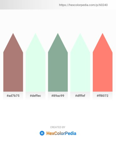 Palette image download - Rosy Brown – Mint Cream – Dark Sea Green – Mint Cream – Salmon