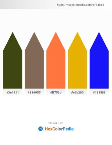 Palette image download - Dark Olive Green – Dim Gray – Tomato – Orange – Blue