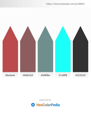 Palette image download - Indian Red – Dim Gray – Slate Gray – Aqua – Black