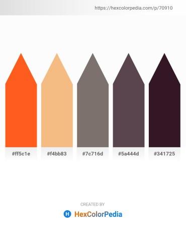 Palette image download - Orange Red – Sandy Brown – Dim Gray – Dim Gray – Pink