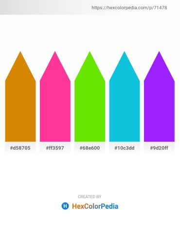 Palette image download - Dark Goldenrod – Deep Pink – Lawn Green – Dark Turquoise – Dark Violet