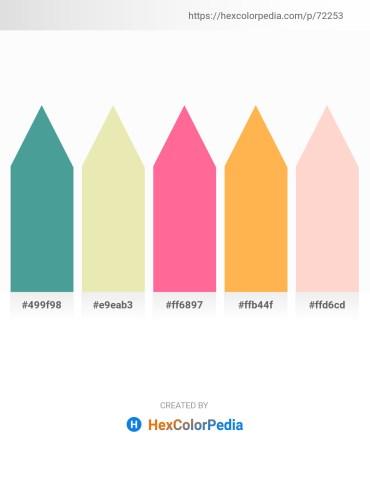 Palette image download - Cadet Blue – Pale Goldenrod – Hot Pink – Sandy Brown – Misty Rose