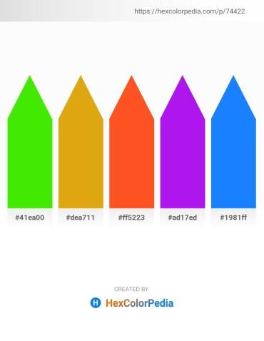 Palette image download - Lawn Green – Goldenrod – Orange Red – Blue Violet – Dodger Blue