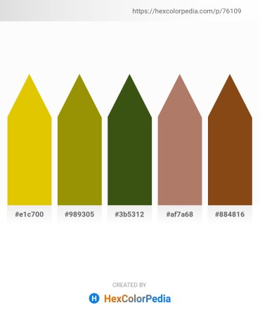 Palette image download - Gold – Olive – Dark Olive Green – Rosy Brown – Saddle Brown