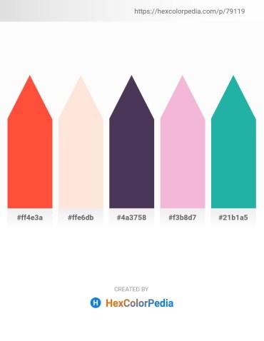 Palette image download - Tomato – Misty Rose – Dark Slate Blue – Violet – Light Sea Green