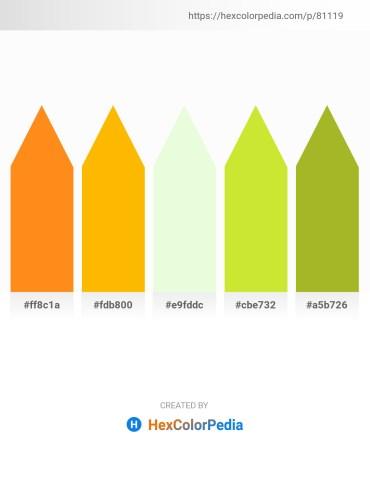 Palette image download - Dark Orange – Orange – Honeydew – Powder Blue – Yellow Green