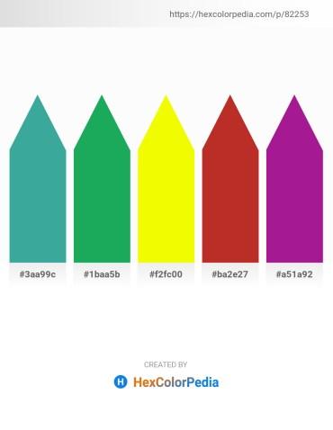 Palette image download - Medium Sea Green – Forest Green – Yellow – Firebrick – Medium Violet Red