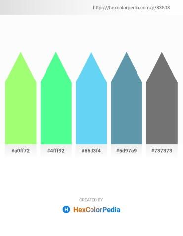 Palette image download - Pale Green – Aquamarine – Light Sky Blue – Cadet Blue – Dim Gray
