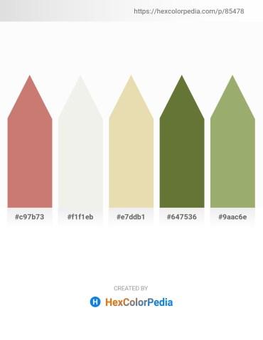 Palette image download - Indian Red – White Smoke – Pale Goldenrod – Dark Olive Green – Dark Khaki