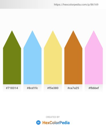 Palette image download - Olive Drab – Light Sky Blue – Khaki – Chocolate – Pink