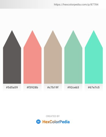 Palette image download - Dim Gray – Light Coral – Rosy Brown – Dark Sea Green – Turquoise