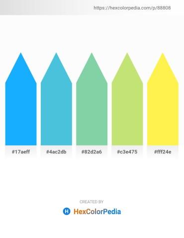Palette image download - Dodger Blue – Medium Turquoise – Medium Aquamarine – Khaki – Green Yellow