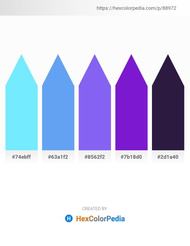 Palette image download - Light Sky Blue – Cornflower Blue – Medium Slate Blue – Blue Violet – Midnight Blue