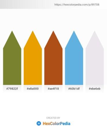 Palette image download - Olive Drab – Orange – Saddle Brown – Cornflower Blue – White Smoke