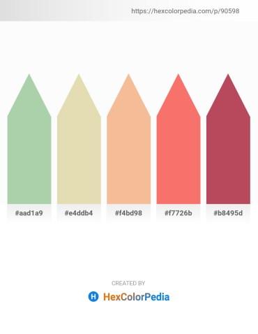Palette image download - Dark Sea Green – Beige – Wheat – Salmon – Indian Red