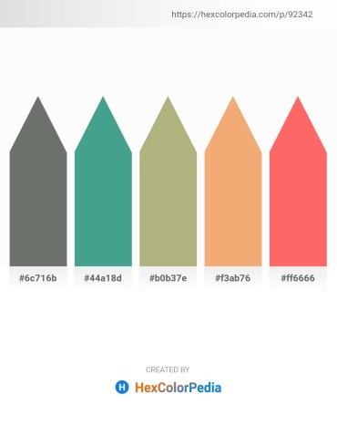 Palette image download - Dim Gray – Medium Sea Green – Dark Khaki – Sandy Brown – Salmon