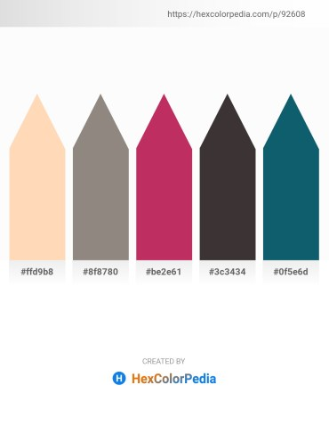 Palette image download - Peach Puff – Gray – Brown – Dim Gray – Teal