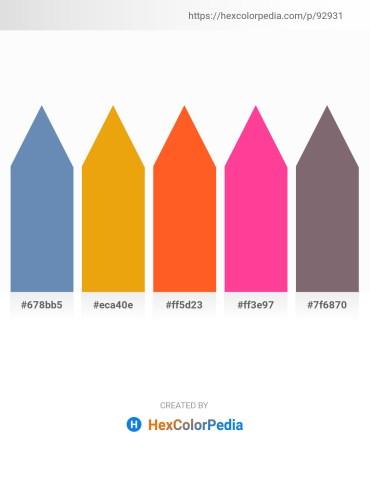 Palette image download - Steel Blue – Orange – Tomato – Deep Pink – Dim Gray