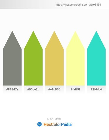 Palette image download - Gray – Yellow Green – Burlywood – Moccasin – Turquoise