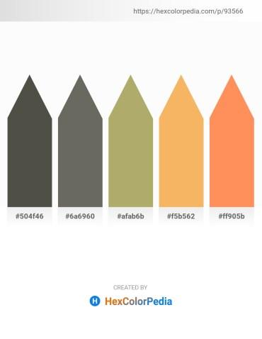 Palette image download - Dim Gray – Dim Gray – Dark Khaki – Sandy Brown – Coral