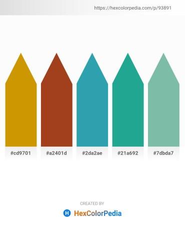 Palette image download - Dark Goldenrod – Firebrick – Light Sea Green – Light Sea Green – Dark Sea Green