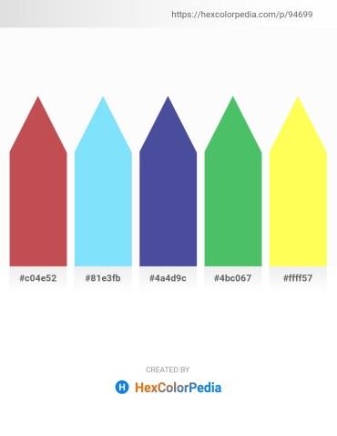Palette image download - Indian Red – Light Sky Blue – Dark Slate Blue – Medium Sea Green – Green Yellow