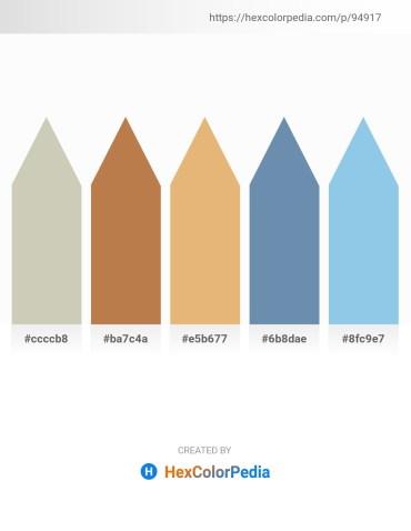 Palette image download - Silver – Peru – Dark Salmon – Cadet Blue – Sky Blue
