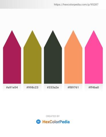 Palette image download - Firebrick – Olive Drab – Dark Slate Gray – Sandy Brown – Hot Pink