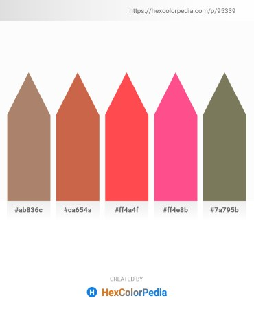 Palette image download - Rosy Brown – Indian Red – Tomato – Hot Pink – Dim Gray