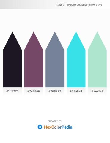 Palette image download - Black – Dark Sea Green – Light Slate Gray – Turquoise – Powder Blue