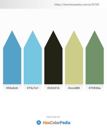 Palette image download - Steel Blue – Sky Blue – Black – Tan – Dark Sea Green