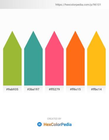 Palette image download - Yellow Green – Medium Sea Green – Tomato – Dark Orange – Orange