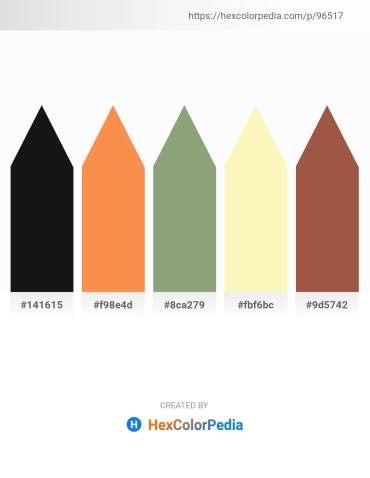 Palette image download - Black – Coral – Dark Sea Green – Light Goldenrod Yellow – Sienna