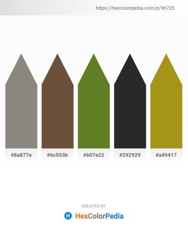 Palette image download - Gray – Tan – Olive Drab – Black – Dark Goldenrod