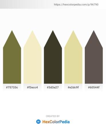 Palette image download - Dark Olive Green – Pale Goldenrod – Black – Burlywood – Dim Gray
