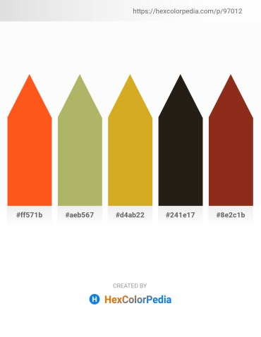 Palette image download - Orange Red – Dark Khaki – Goldenrod – Black – Saddle Brown