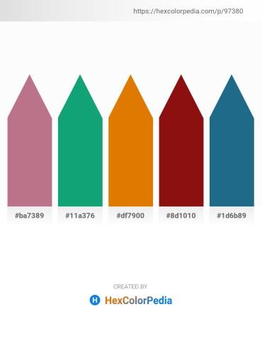 Palette image download - Rosy Brown – Light Sea Green – Dark Orange – Saddle Brown – Sienna