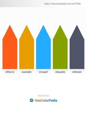 Palette image download - Orange Red – Orange – Dodger Blue – Olive – Dark Slate Gray