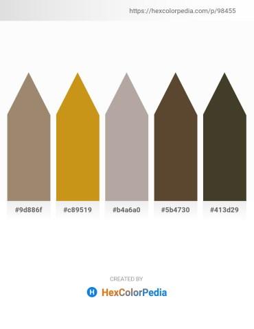Palette image download - Rosy Brown – Goldenrod – Dark Gray – Light Steel Blue – Dark Olive Green