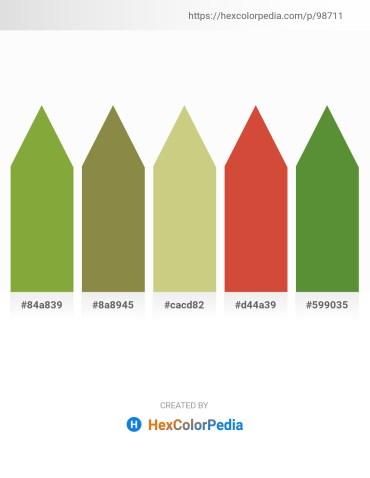 Palette image download - Yellow Green – Dark Olive Green – Tan – Indian Red – Dark Olive Green