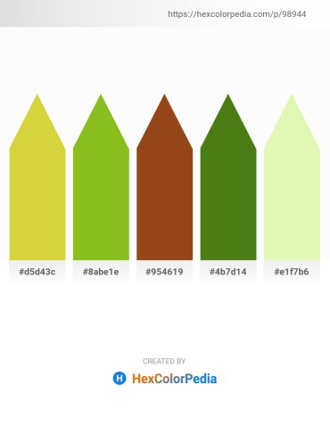 Palette image download - Yellow Green – Yellow Green – Saddle Brown – Olive Drab – Light Goldenrod Yellow