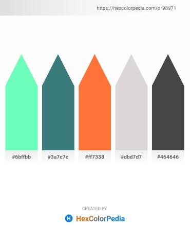 Palette image download - Aquamarine – Sea Green – Tomato – Gainsboro – Dim Gray