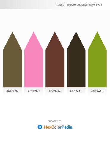 Palette image download - Dark Olive Green – Hot Pink – Pale Goldenrod – Slate Gray – Olive Drab